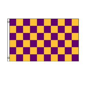 Purple & Gold Checkered Flag 3' x 5'