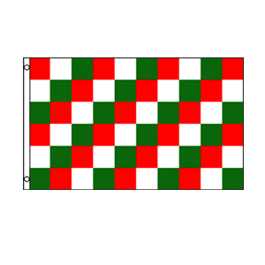 Red, Green & White Checkered Flag 3' x 5'