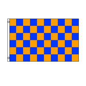 Blue & Orange Checkered Flag 3' x 5'