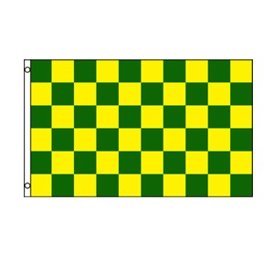 Green & Yellow Checkered Flag 3' x 5'