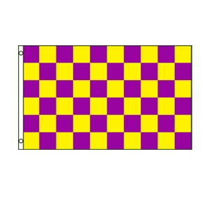 Purple & Yellow Checkered Flag 3' x 5'