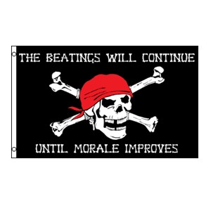 """The Beatings Will Continue"" Morale Pirate Flag 3' x 5'"