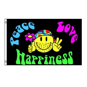 Peace, Love and Happiness Flag 3' x 5'